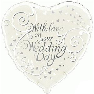 With Love on Your Wedding Day Foil Balloon - 18""