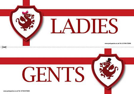 St. George's Day White Toilet Signs - Ladies & Gents