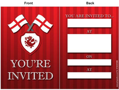 St. George's Day England Flag Invitations - Pack of 8