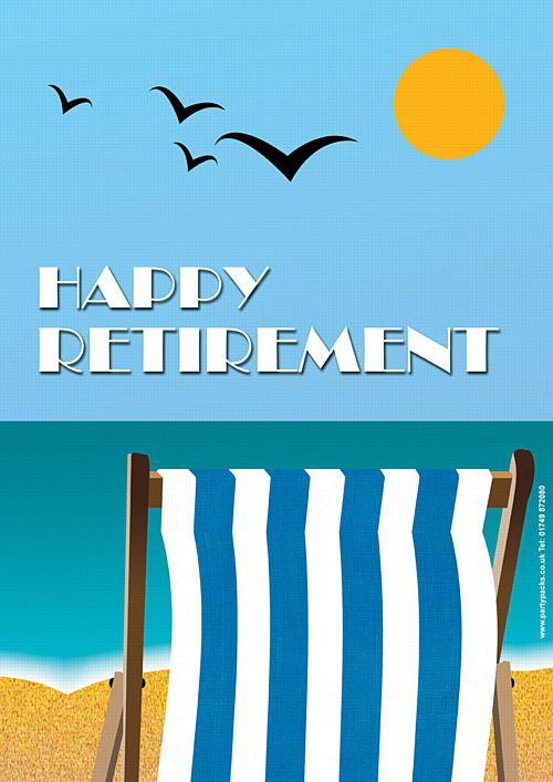 Blue Retirement Deckchair Poster - A3