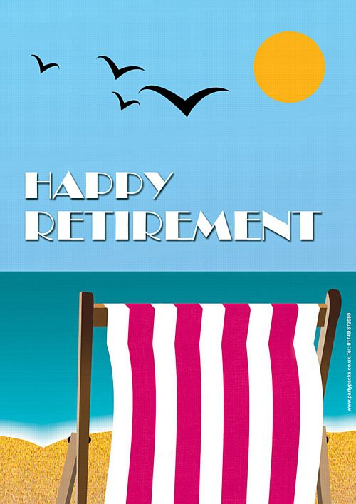 Pink Retirement Deckchair Poster - A3