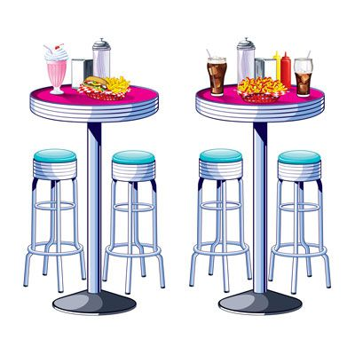 Soda Shop Tables & Stools Props - 1.6m - Pack of 2