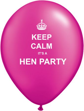 Keep Calm It's a Hen Party Latex Balloons - Pack of 10