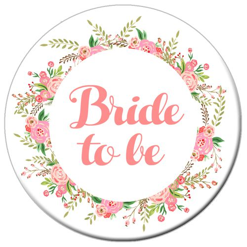 Boho Flowers Bride To Be Badge 58mm- Each