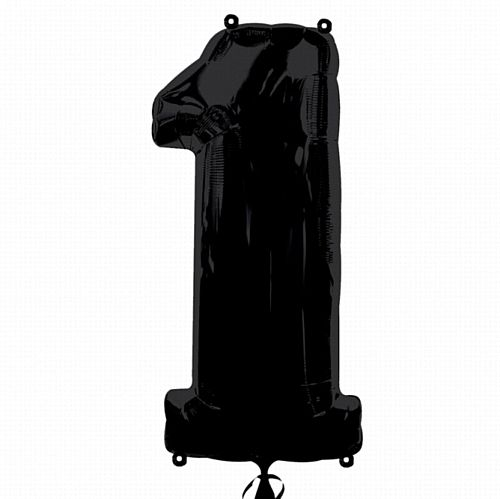 Black Number 1 Foil Balloon - 35""