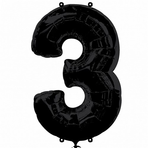 Black Number 3 Foil Balloon - 35""