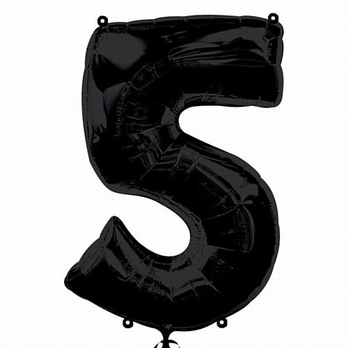 Black Number 5 Foil Balloon - 35""