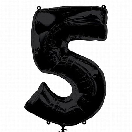 Black Number 5 Foil Balloon - 35