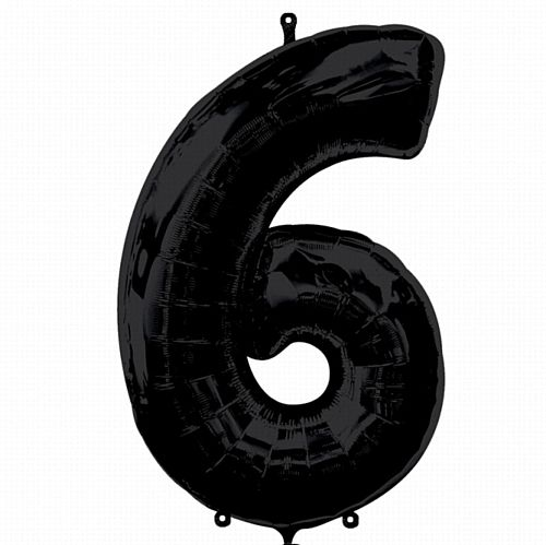 Black Number 6 Foil Balloon - 35""