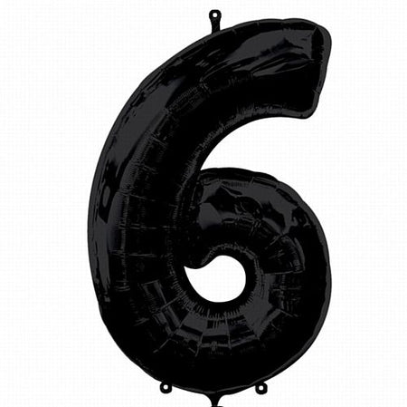 Black Number 6 Foil Balloon - 35