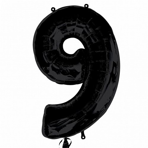 Black Number 9 Foil Balloon - 35""