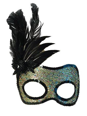 Multi Glitter Mask With Black Feather