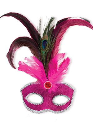 Pink Mask With Tall Peacock Feathers