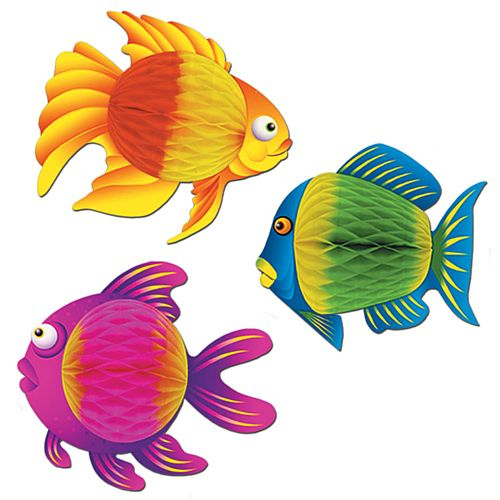 Tropical Tissue Fish - Assorted Designs - 20.3cm - Each