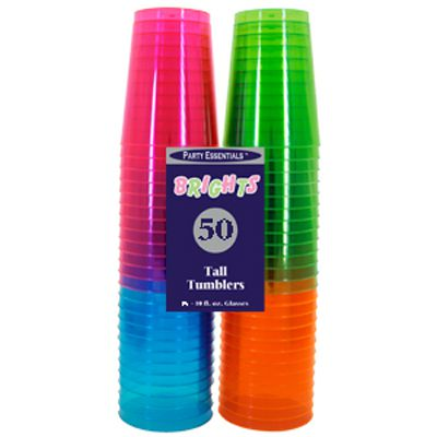 Neon Plastic Half Pint Tumblers - 296ml - Pack of 50