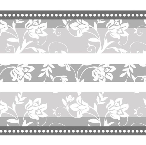 Floral Silver Anniversary Paper Table Runner - 120cm x 30cm