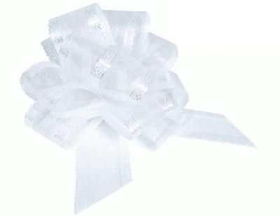 White Premium Quality Organza Pullbows - 50mm