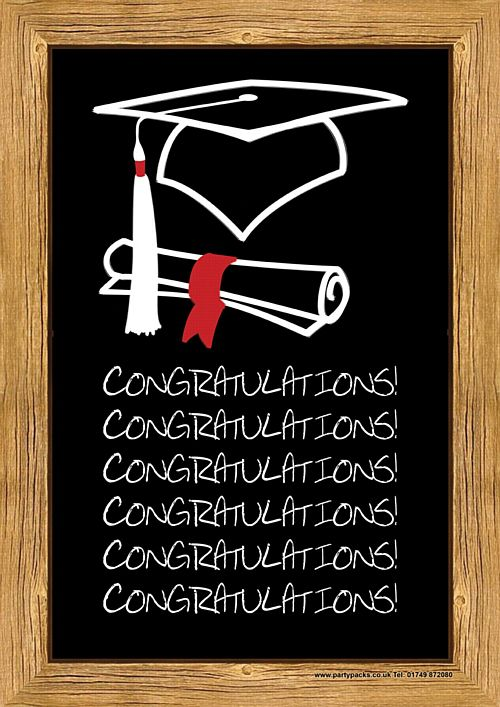 Graduation Congratulations School Chalk Board Poster - A3