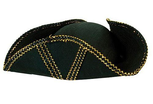 Tricorn Pirate Hat With Gold Trim