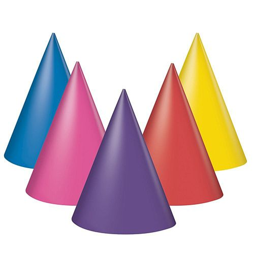 Assorted Colour Party Hats - Pack of 8