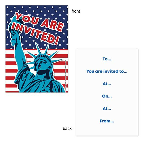 American Flag and Statue of Liberty Invites  - Pack of 8