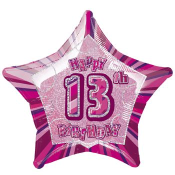 Birthday Glitz Pink '13th' Prismatic Foil Balloon - 50.8cm