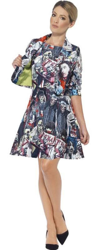 Zombie Printed Dress With Jacket