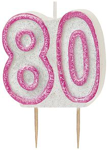 Birthday Glitz Pink '80' Candle - 6cm - Each