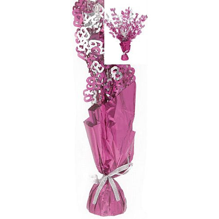 Birthday Glitz Pink '65' Foil Balloon Weight Centrepiece