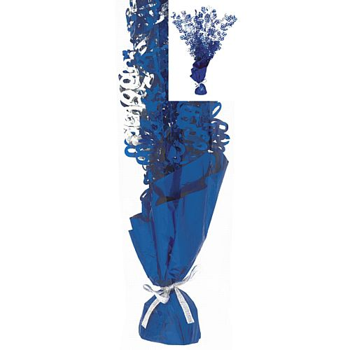 Birthday Glitz Blue '60' Foil Balloon Weight Centrepiece