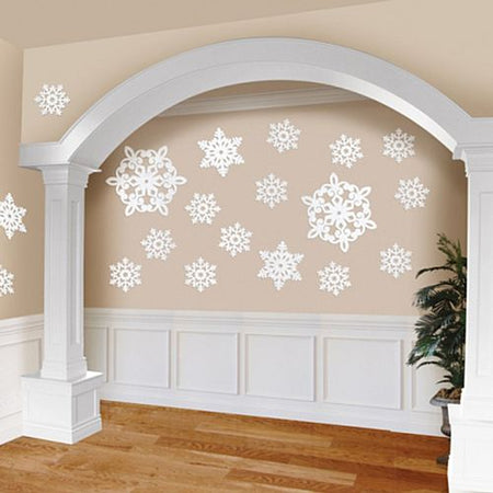 Christmas Glitter Snowflake Cutout Wall Decorations Mega Value Pack - Pack of 20