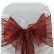 Burgundy Organza Chair Sashes - Pack of 6 - 3m
