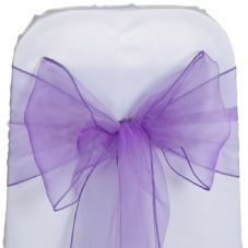 Purple Organza Chair Sashes - Pack of 6 - 3m