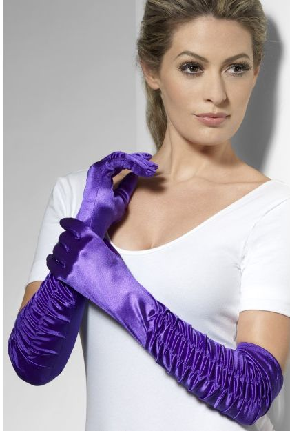 Long Purple Satin Opera Gloves