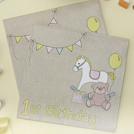 Rock-A-Bye Baby 1st Birthday Napkins - 12.7cm - Pack of 20