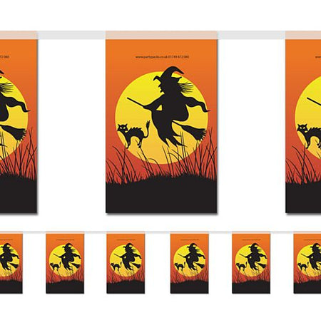Halloween Witch & Cat Bunting - 2.4m