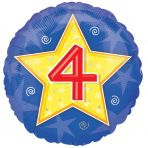 4th Birthday Stars & Swirls Foil Balloon 18