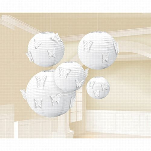 White Paper Lanterns With Butterfly Attachments - Pack of 5
