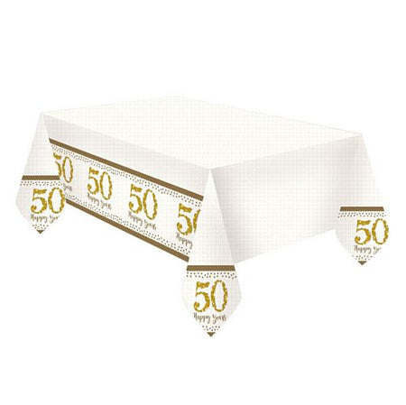 Sparkling Golden Anniversary Plastic Tablecloth - 1.8m