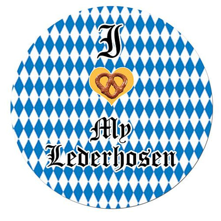 Click to view product details and reviews for I Love My Lederhosen Badge 58mm Pinned Back Each.