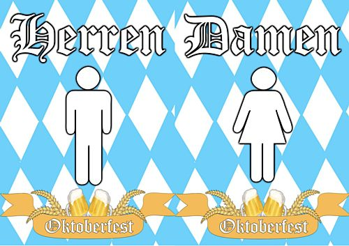 Oktoberfest Toilet Signs German - Ladies & Gents