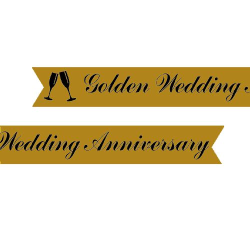 Golden Anniversary Printed Ribbon Gold - 25mm - Per Metre