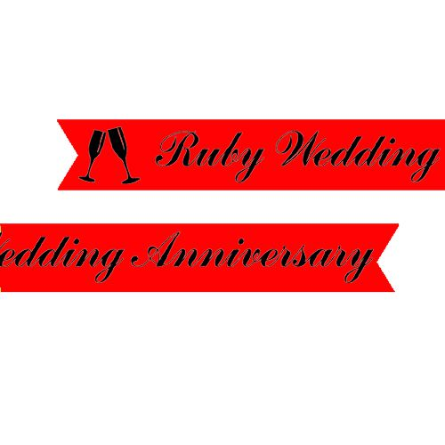 Ruby Anniversary Printed Ribbon Red - 25mm - Per Metre