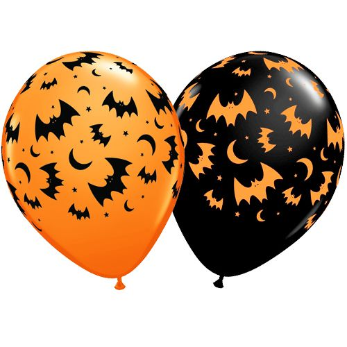 "Flying Bats & Moons Assorted Orange & Onyx Black Latex Balloons - 11"" - Pack of 10"