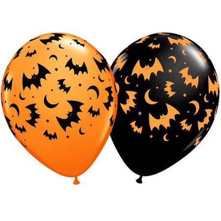Flying Bats & Moons Assorted Orange & Onyx Black Latex Balloons - 11