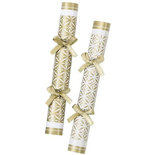 Mini Gold and White Christmas Crackers - Pack of 8
