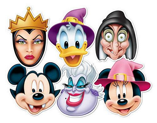 Disney Scary Halloween Card Masks - Pack of 6