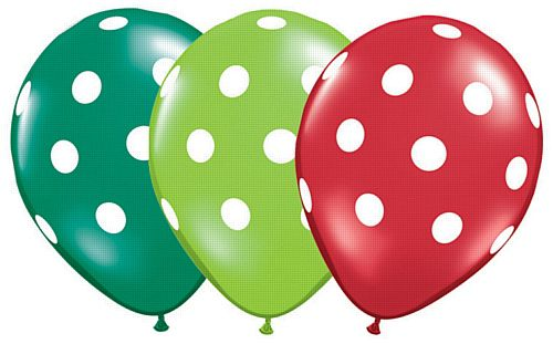 "Lime, Emerald & Ruby Big Polka Dots Qualatex Balloons - 11"" - Pack of 10"
