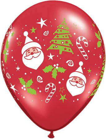 Santa & Christmas Tree Qualatex Balloons - 27.9cm - Pack of 10