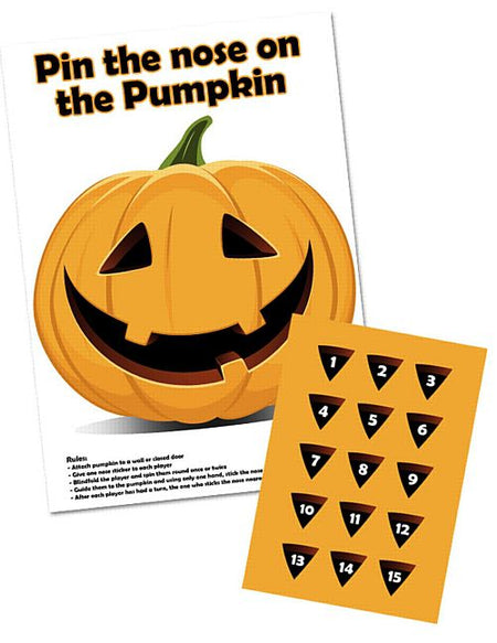 Pin The Nose On The Pumpkin Game With Stickers